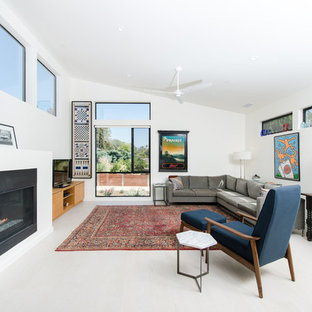 Mid-sized trendy formal and open concept light wood floor living room photo in Los Angeles with white walls, a corner fireplace, a metal fireplace and a media wall
