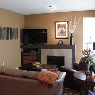 Mid Sized Trendy Open Concept Light Wood Floor Living Room Photo In Seattle With Brown Save Small Condo Makeover