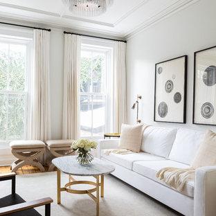 Foto di un soggiorno tradizionale di medie dimensioni e aperto con sala formale e pareti bianche