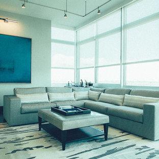 Idee per un soggiorno moderno di medie dimensioni e aperto con sala della musica, camino lineare Ribbon e parete attrezzata