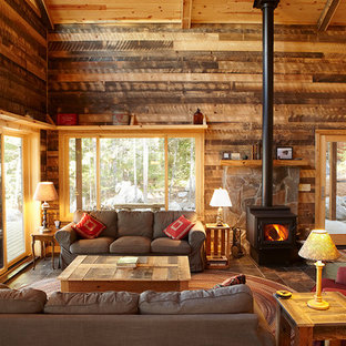 Large traditional living room in Minneapolis with a wood stove.