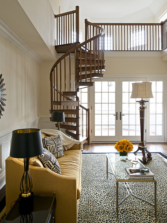Living Room Stairs Houzz - Living room with stairs