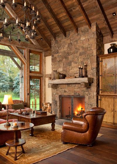 Rustic Living Room by JLF & Associates, Inc.