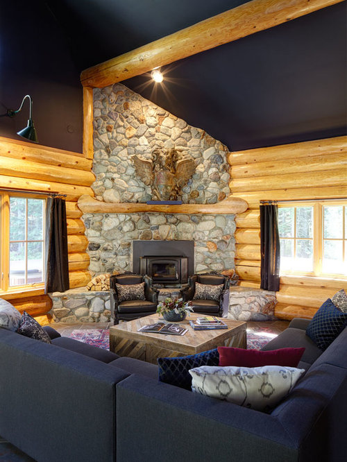 Rustic Living Design Ideas, Renovations & Photos With Blue