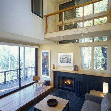 Soaring Living Room & Glass Doors