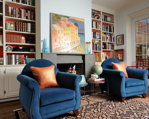 Eclectic Dark Wood Floor Living Room Photo In Philadelphia With A Library Blue Walls And