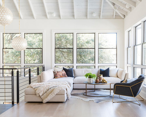 Inspiration For A Contemporary Loft Style Light Wood Floor And Beige Floor Living  Room Remodel