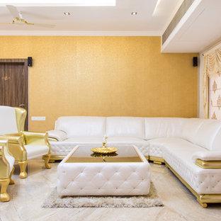 Foto di un soggiorno design di medie dimensioni e chiuso con sala formale, pavimento in pietra calcarea e nessuna TV