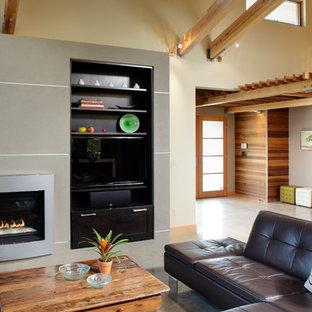Esempio di un ampio soggiorno contemporaneo aperto con pareti beige, pavimento in cemento, camino classico, cornice del camino in metallo e parete attrezzata