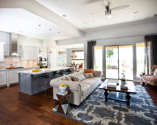 Kitchen living room combo houzz for Kitchen family room combo floor plans