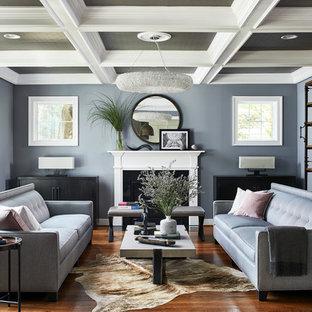 Mittelgroße, Fernseherlose, Abgetrennte Klassische Bibliothek mit blauer Wandfarbe, Kamin, Kaminsims aus Stein, braunem Boden und dunklem Holzboden in Washington, D.C.
