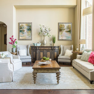 Living room - traditional formal and open concept dark wood floor living room idea in Houston with beige walls