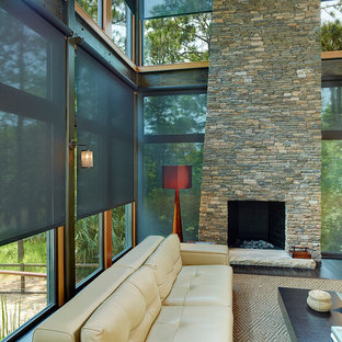 Solar Shades & Living Room with stone fireplace
