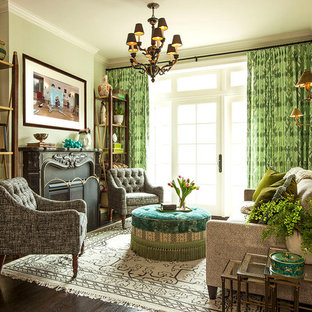 Living room - traditional formal dark wood floor and brown floor living room idea in Chicago with green walls and a standard fireplace