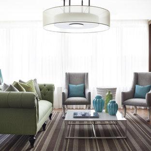 Living room - contemporary medium tone wood floor living room idea in Atlanta