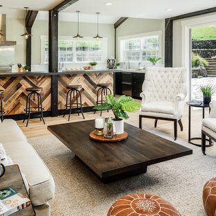 Cottage Open Concept Light Wood Floor And Beige Living Room Photo In San Francisco With