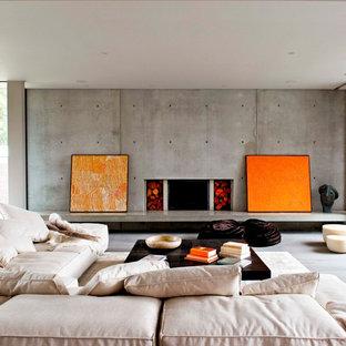 Diseño de salón para visitas actual, sin televisor, con marco de chimenea de hormigón y chimenea lineal