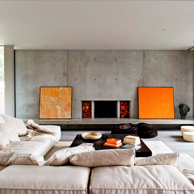 Trendy formal living room photo in Melbourne with a concrete fireplace, no tv and a ribbon fireplace