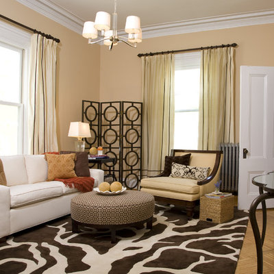 Inspiration for a transitional enclosed living room remodel in Boston