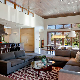 Example of a trendy open concept living room design in San Francisco with white walls
