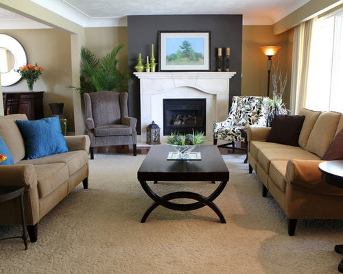 Accent wall fireplace houzz for Living room 102