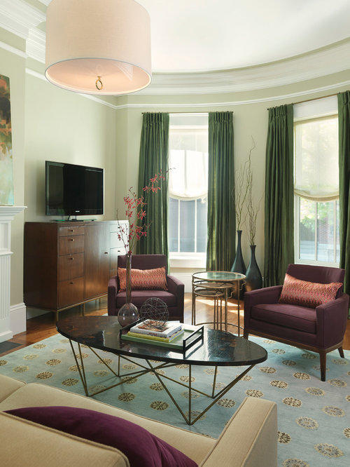 green curtains for living room. Contemporary medium tone wood floor living room idea in Boston with green  walls and a tv Green Curtains Houzz
