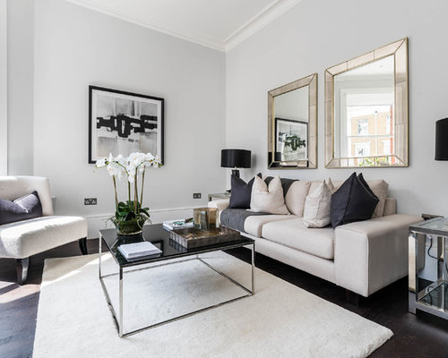 Design Ideas For A Classic Open Plan Living Room In London With Grey Walls Dark