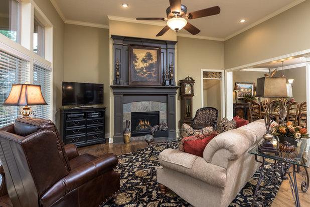 American Traditional Living Room by R Designs, LLC.