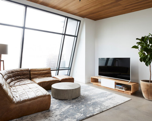 inspiration for a contemporary living room remodel in san francisco with white walls concrete floors - Contemporary Living Room Design Ideas In