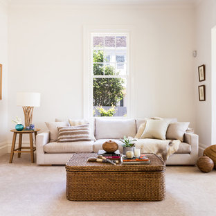 Design ideas for a large transitional open concept living room in Melbourne with white walls, carpet and no tv.