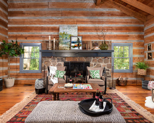 Inspiration For A Large Rustic Open Concept Medium Tone Wood Floor And  Brown Floor Living Room