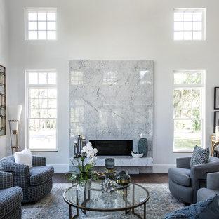 Living Room   Transitional Formal Dark Wood Floor Living Room Idea In  Atlanta With White Walls