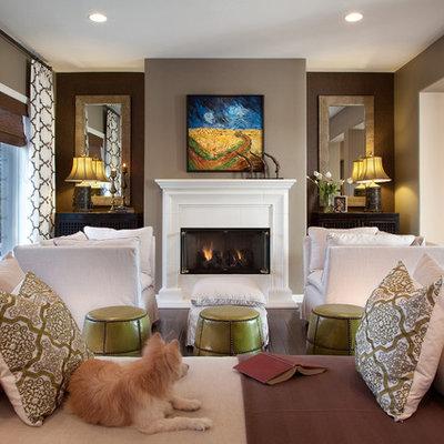 Trendy living room photo in Las Vegas with brown walls