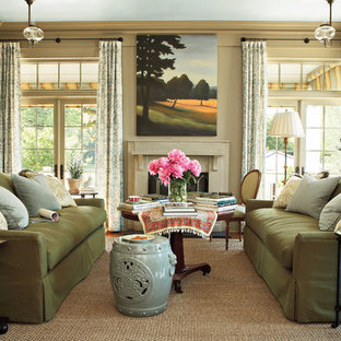 Mid-sized elegant formal living room photo in Atlanta with beige walls, a standard fireplace and a stone fireplace
