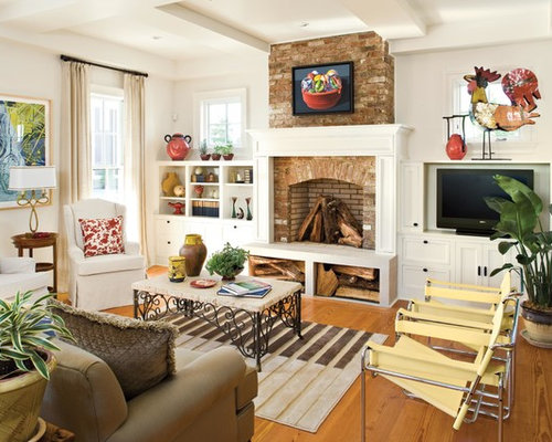 Inspiration For A Timeless Formal Medium Tone Wood Floor Living Room Remodel In Birmingham With White