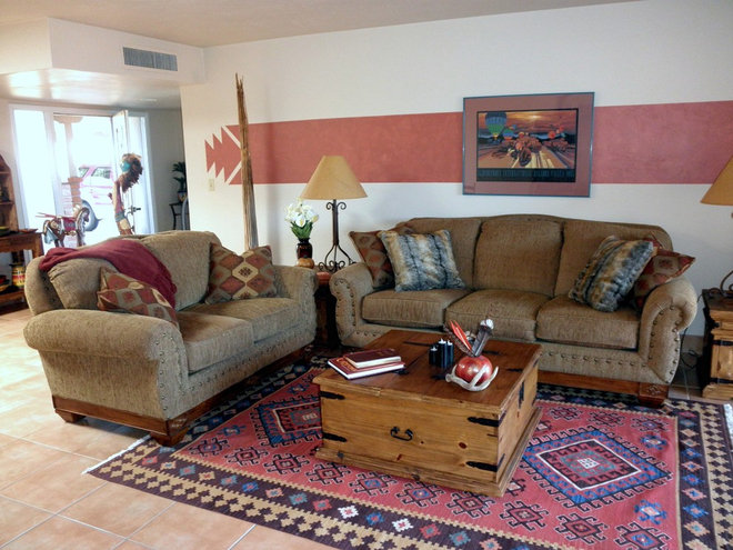 Eclectic Living Room Southwestern Hacienda Style Townhouse