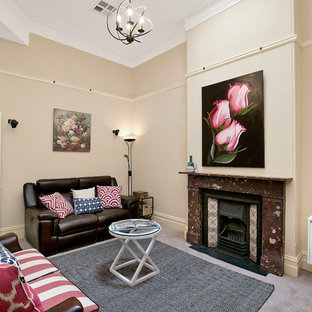 Example of a minimalist formal and enclosed carpeted and purple floor living room design in Sydney with a standard fireplace, beige walls, a stone fireplace and no tv