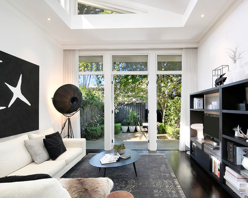 open living room design. Transitional open concept living room in Sydney with white walls  dark hardwood floors a Open Concept Living Room Design Ideas Renovations Photos