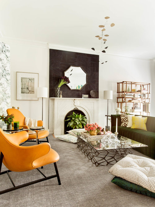Superb Inspiration For A Large Contemporary Carpeted And Beige Floor Living Room  Remodel In New York With