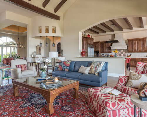 Large Southwestern Open Concept Living Room Idea In Austin With Beige  Walls, Medium Tone Hardwood