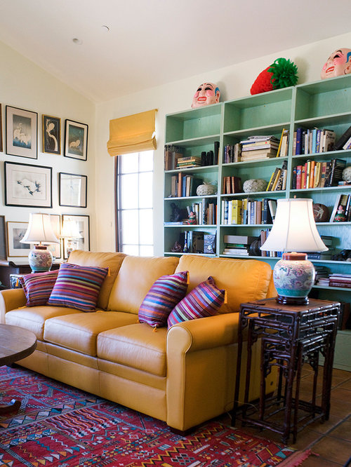 Yellow leather sofa houzz for Mustard living room ideas