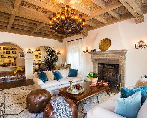 Example Of A Tuscan Enclosed Dark Wood Floor Living Room Design In Los Angeles With White