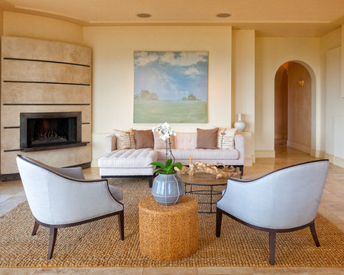 Tuscan Brown Floor Living Room Photo In San Francisco With Beige Walls