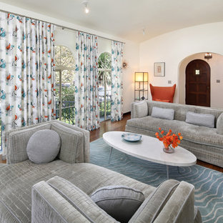 Mid-sized 1950s enclosed dark wood floor living room photo in San Francisco with white walls