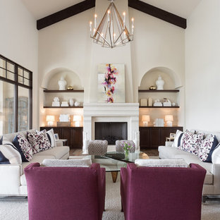 Inspiration for a large transitional formal and open concept carpeted and gray floor living room remodel in Austin with a standard fireplace, beige walls, a concrete fireplace and no tv