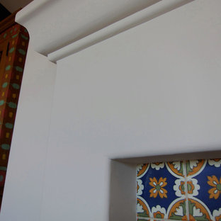 Spanish Style Fireplace Mantel with Decorative Tile