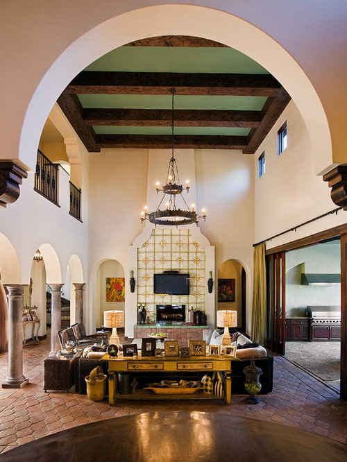Captivating Example Of A Huge Tuscan Living Room Design In Austin With A Wall Mounted Tv Part 5