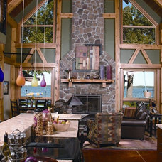 Traditional Living Room by BLUE OX TIMBER FRAMES