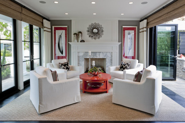 Transitional Living Room by Spinnaker Development
