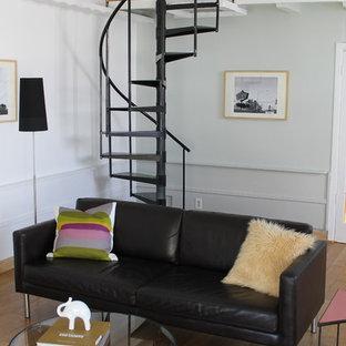 Idéer för ett modernt vardagsrum, med vita väggar